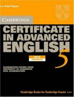 Фото книги Cambridge Certificate in Advanced English 5 Student's Book with answers